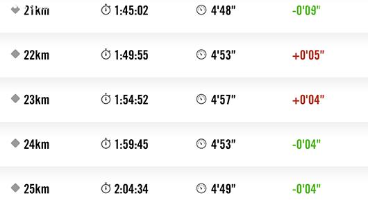 館山マラソン21キロから25キロラップ